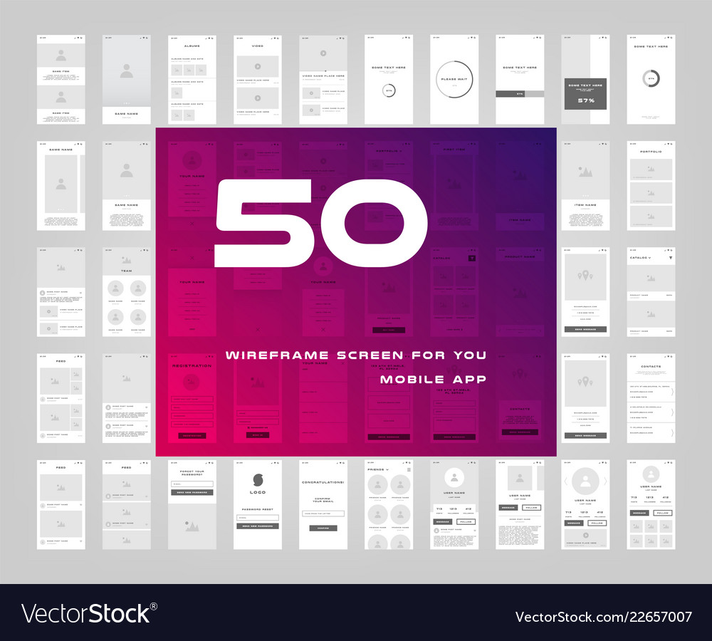 50 in 1 ui kits wireframes screens for your