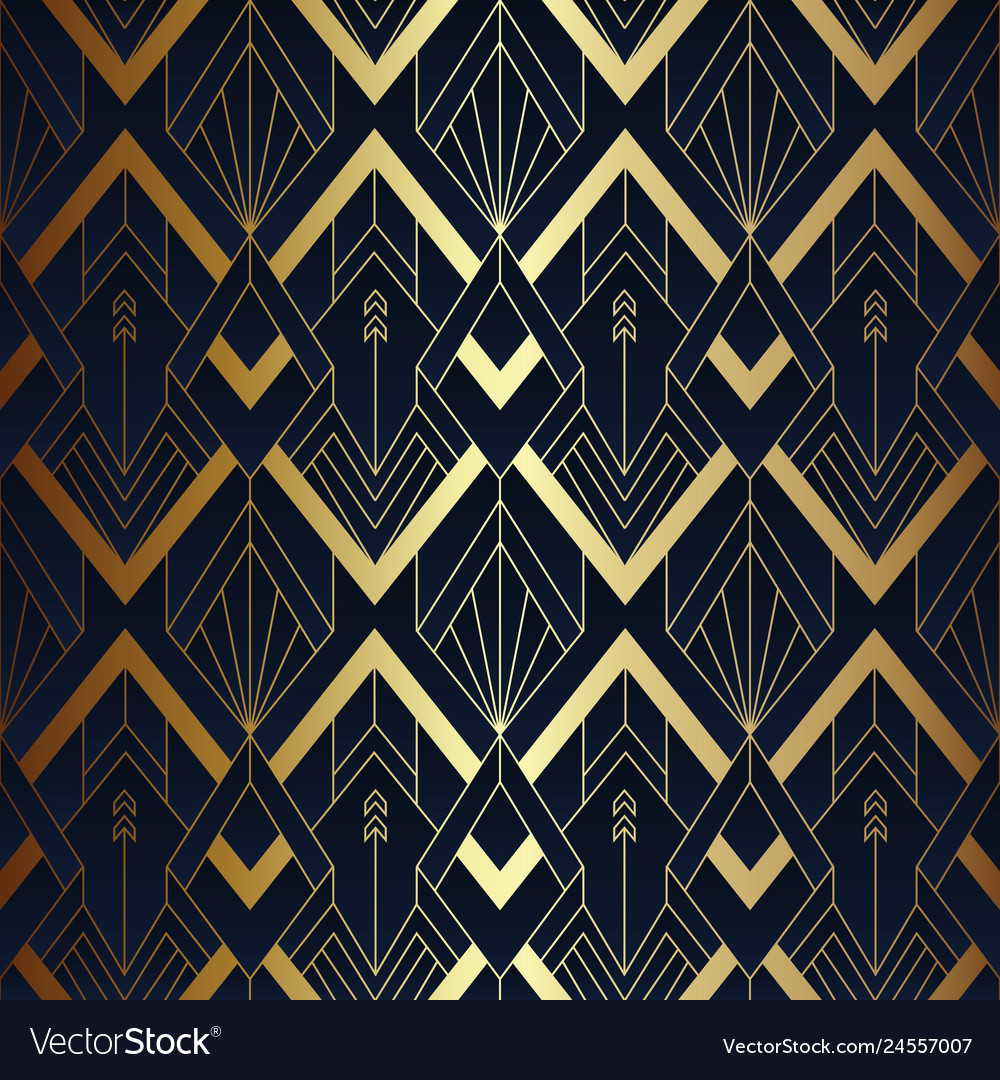 Abstract art seamless blue and golden pattern 10