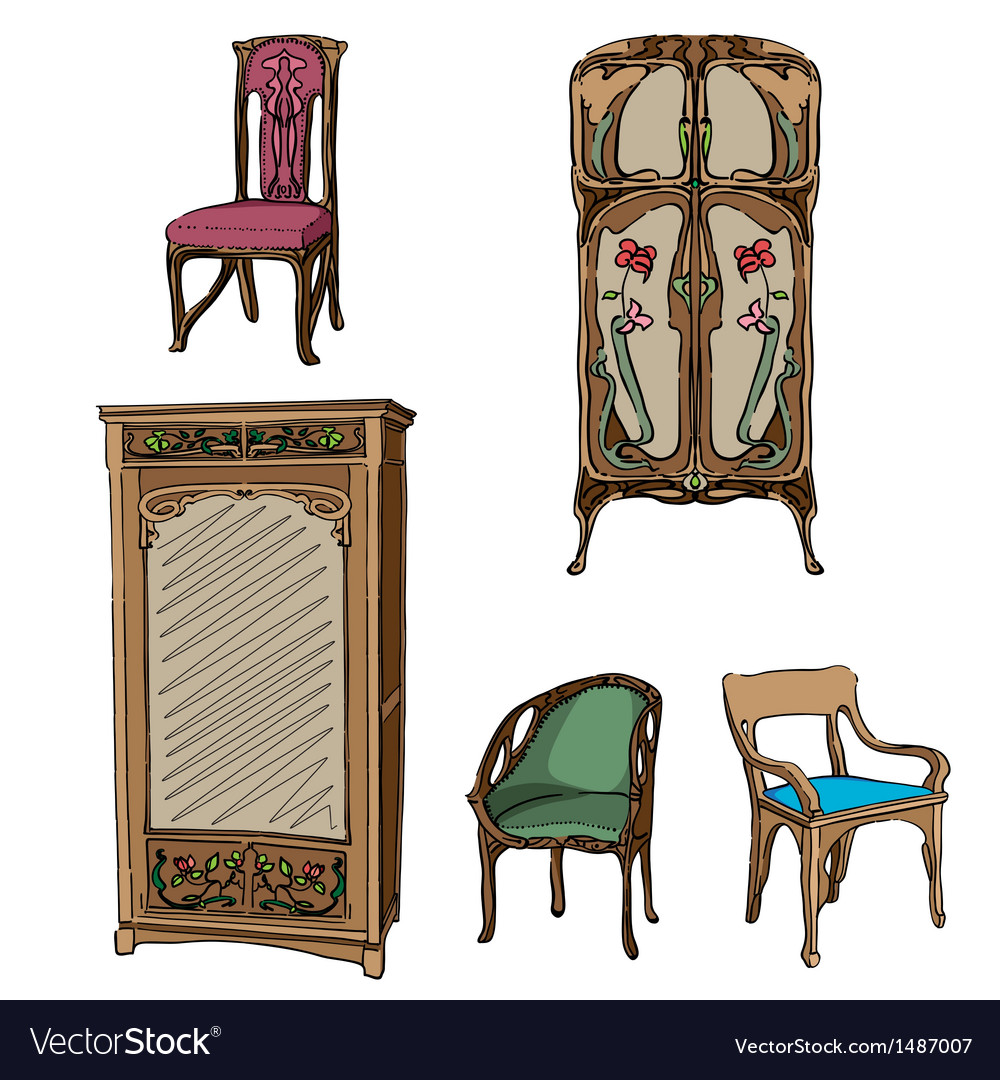 Art Nouveau Furniture Royalty Free Vector Image