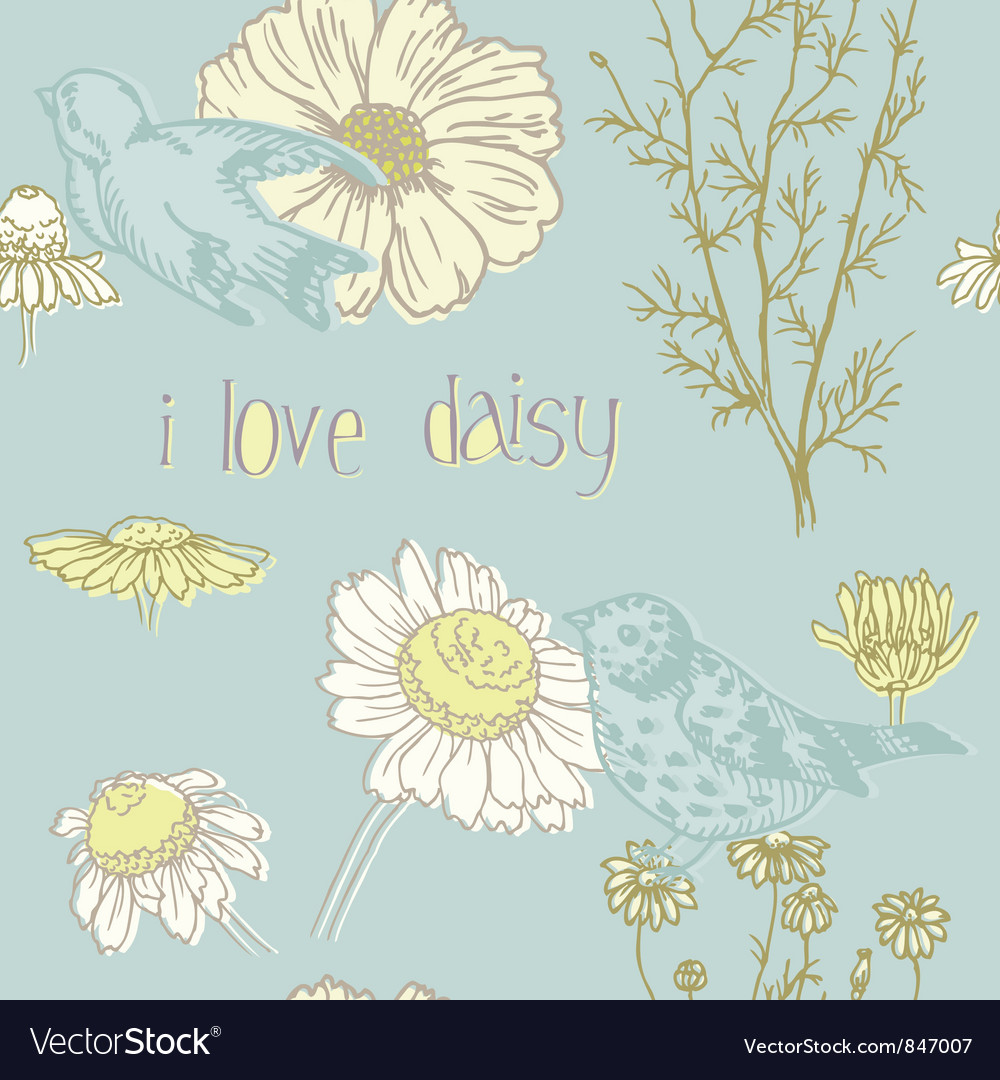 Birds and Flowers - seamless pattern