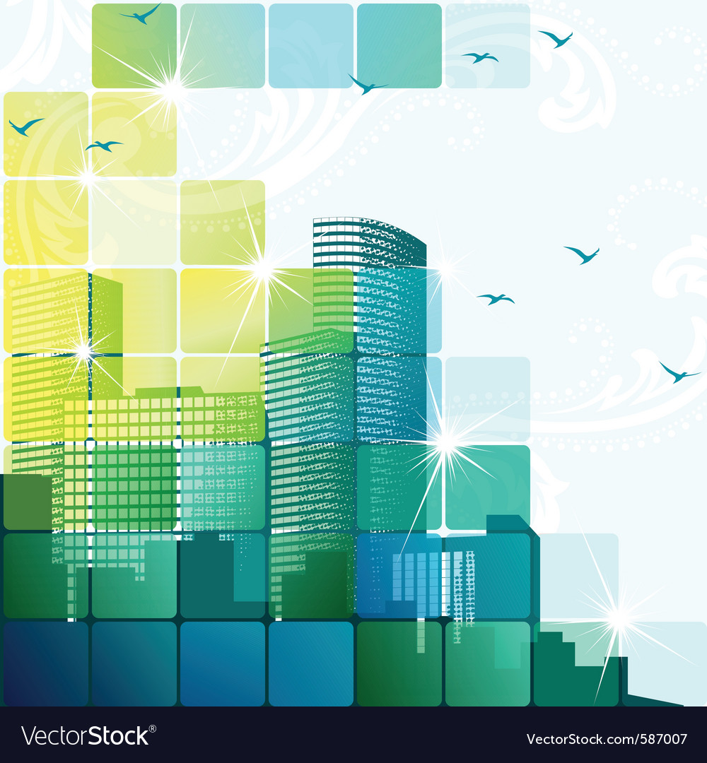 Dynamic cityscape in green vector image