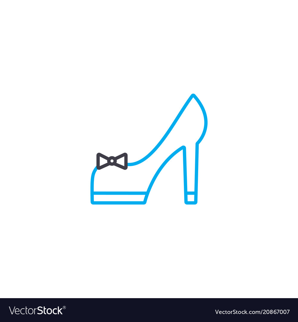 High heeled shoes thin line stroke icon