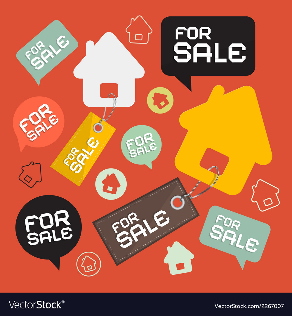House For Sale Retro Paper Icons Set