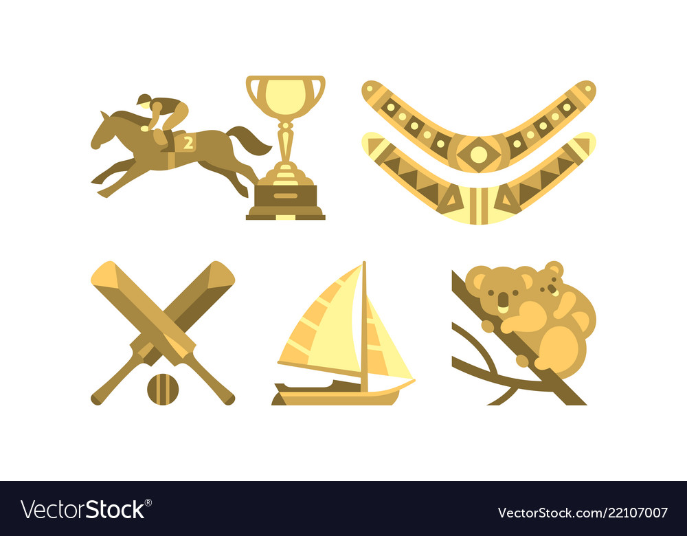 National Symbols Of Australia Travel To Australia Vector Image