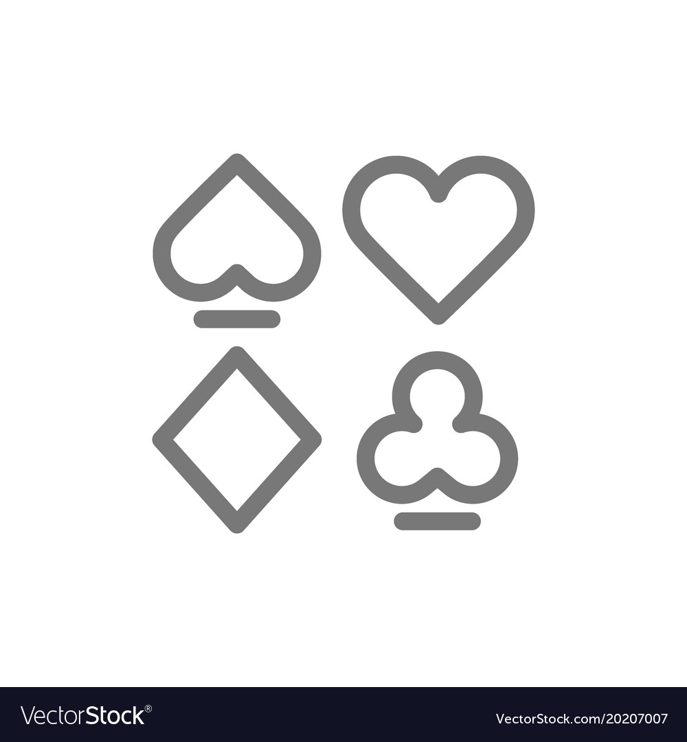 Simple card suits line icon symbol and sign