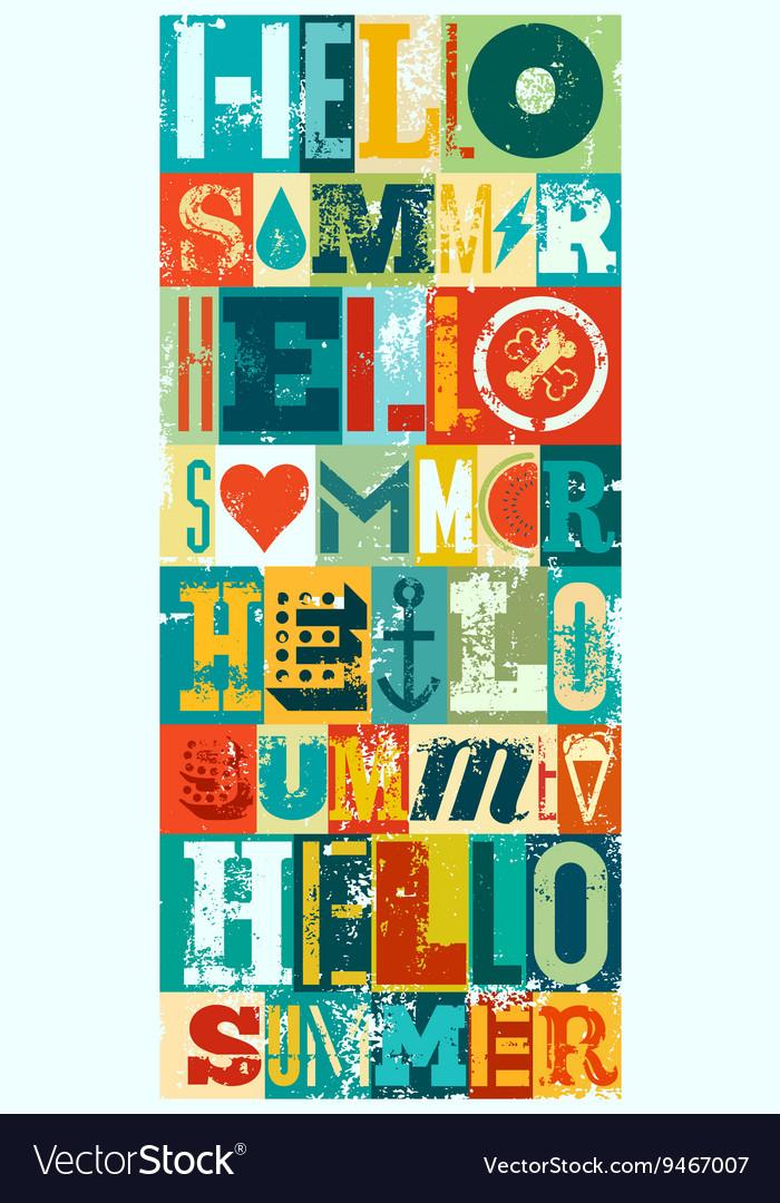 Summer typographic grunge retro poster design