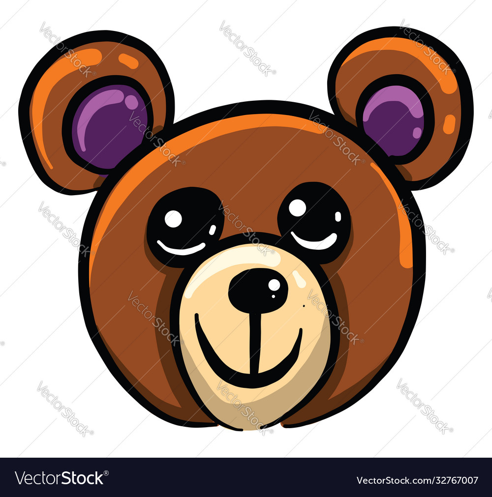 Teddy bear head on white background