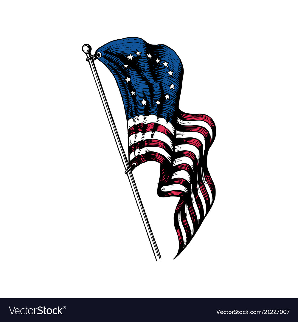 Usa first flag in engraved style