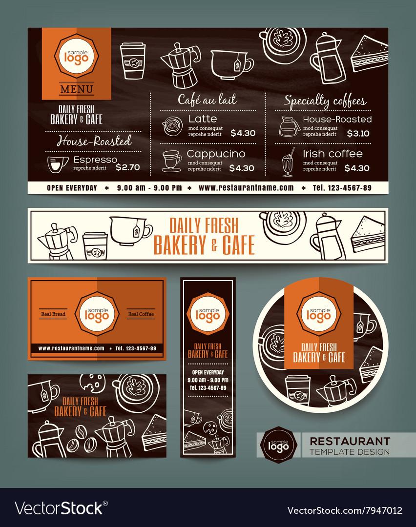 Coffee Bakery shop cafe set menu template vector image