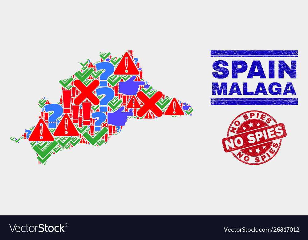 Composition malaga province map sign mosaic and on