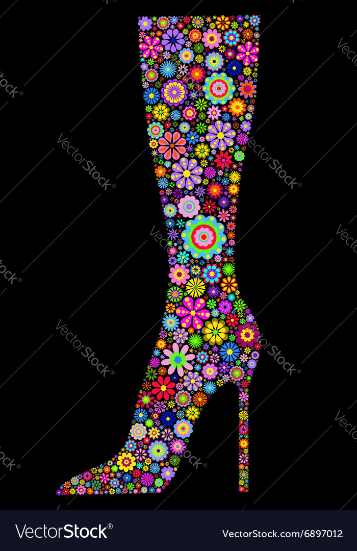 Flower boot on black background