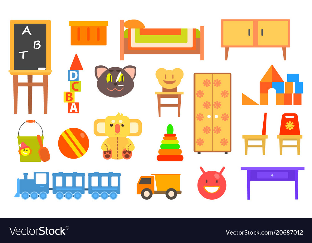 Furniture and toys for childrens rooms