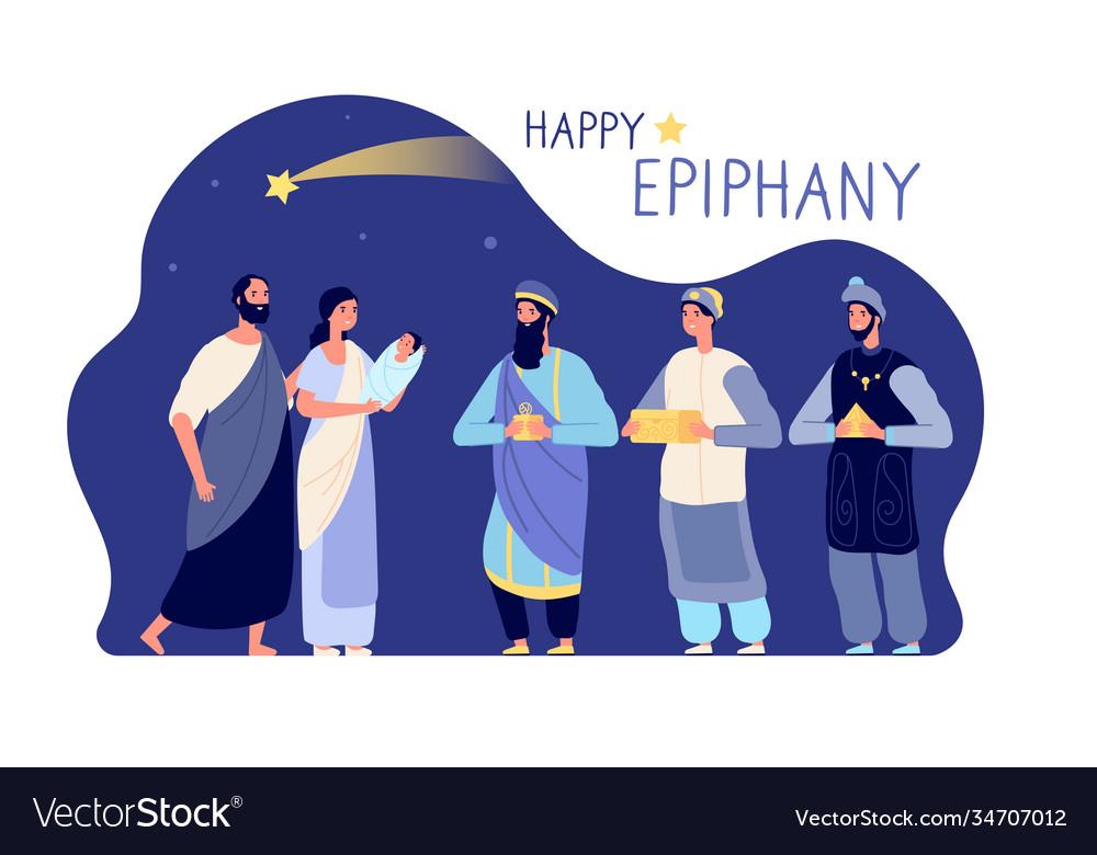 Happy epiphany three wise men winter holiday