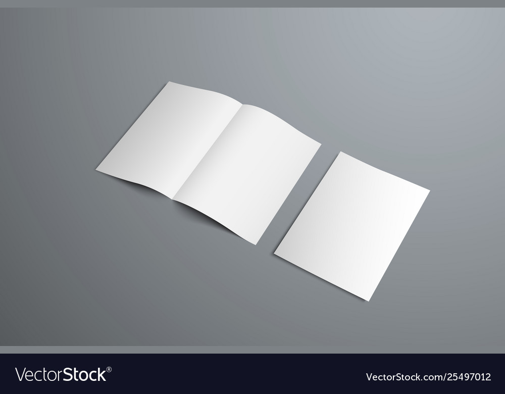 Mockup open bifold brochures and covers vector