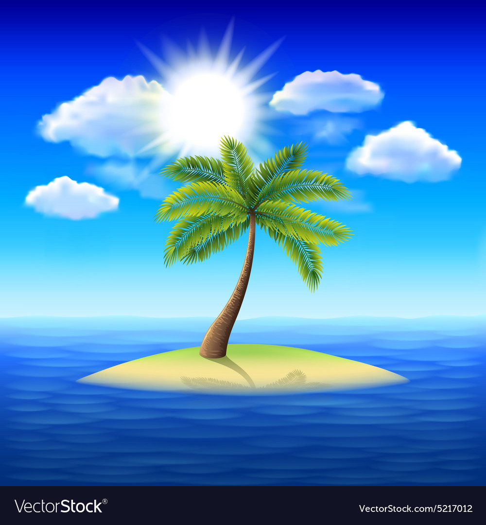 Palm tree on uninhabited island background