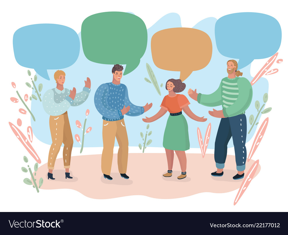 People and colorful speech bubbles