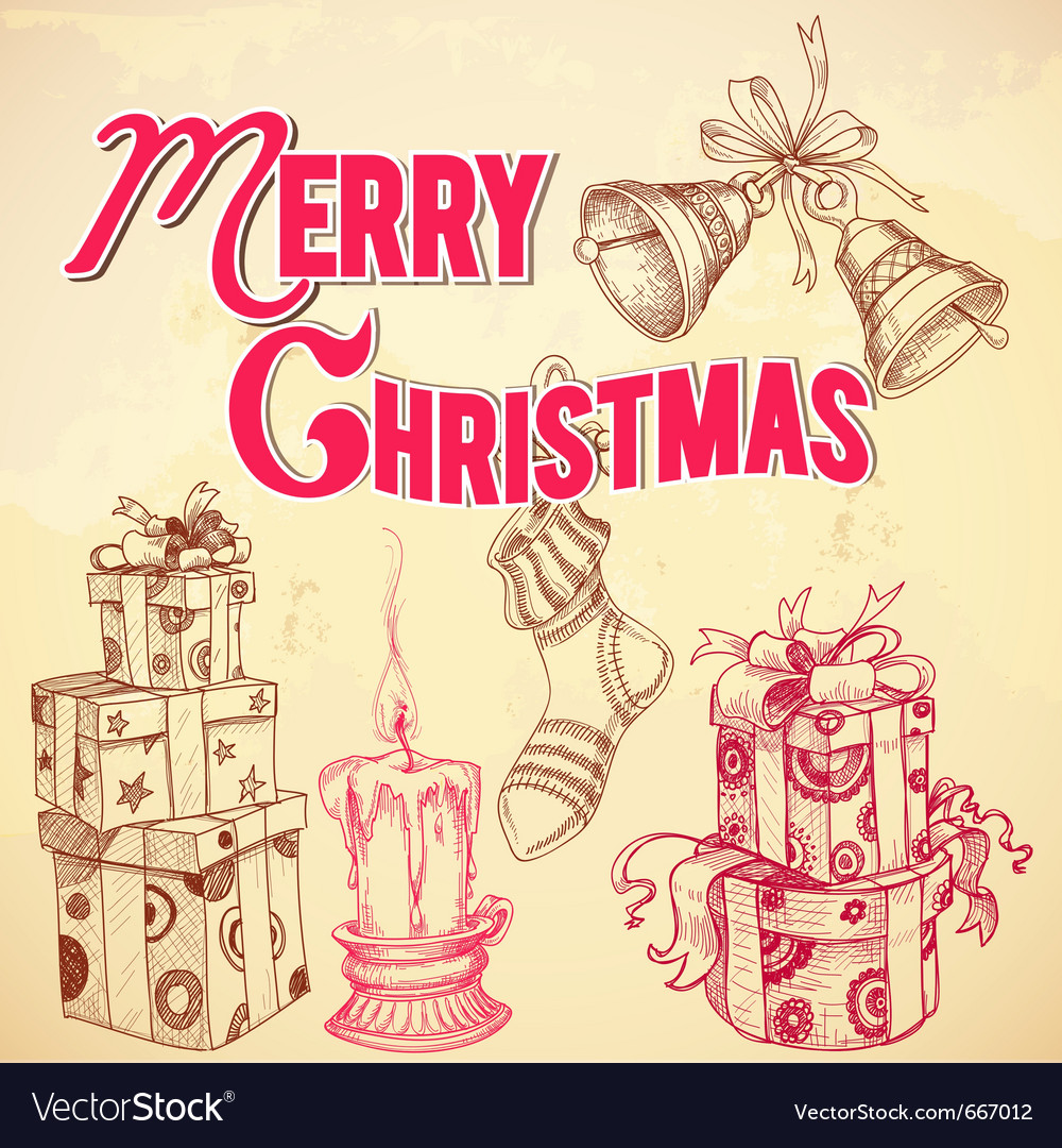 Retro christmas card Royalty Free Vector Image