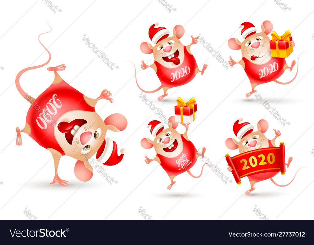 Set cheerful rats rat is a symbol new year