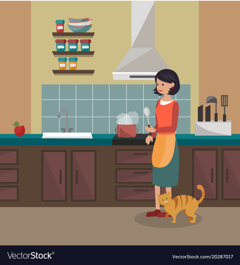 A woman is cooking dinner kitchen interier Vector Image