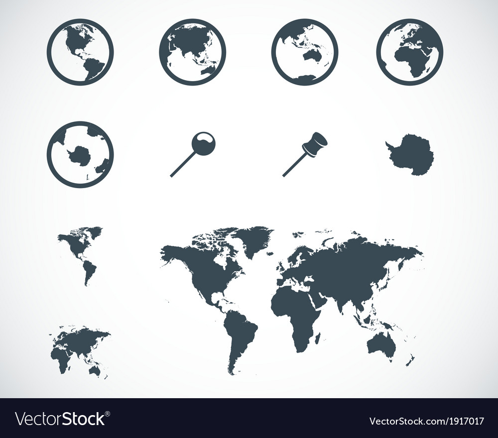 Black world map icons set royalty free vector image black world map icons set vector image gumiabroncs Gallery