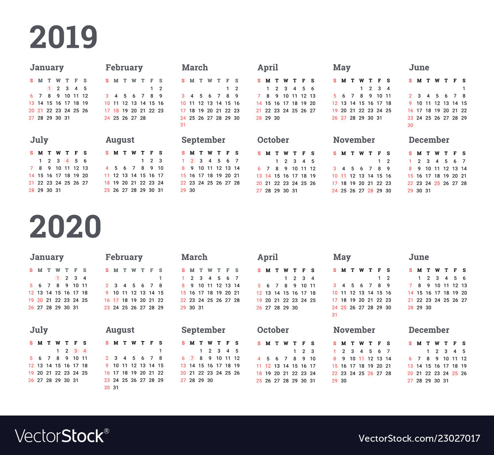Calendar Year 2020.Calendar 2019 2020 Year Wee