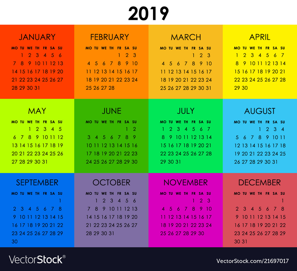 Colorful calendar for 2019 year week starts vector