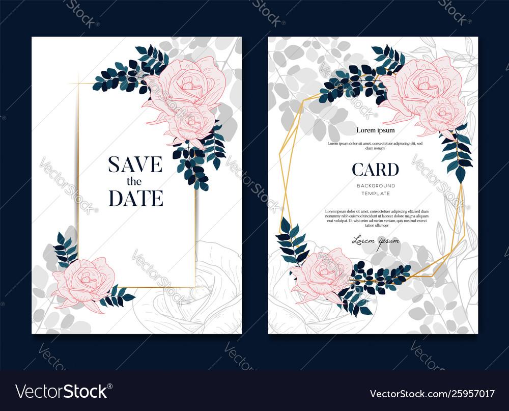 Elegant floral gold wedding invitation banner Vector Image