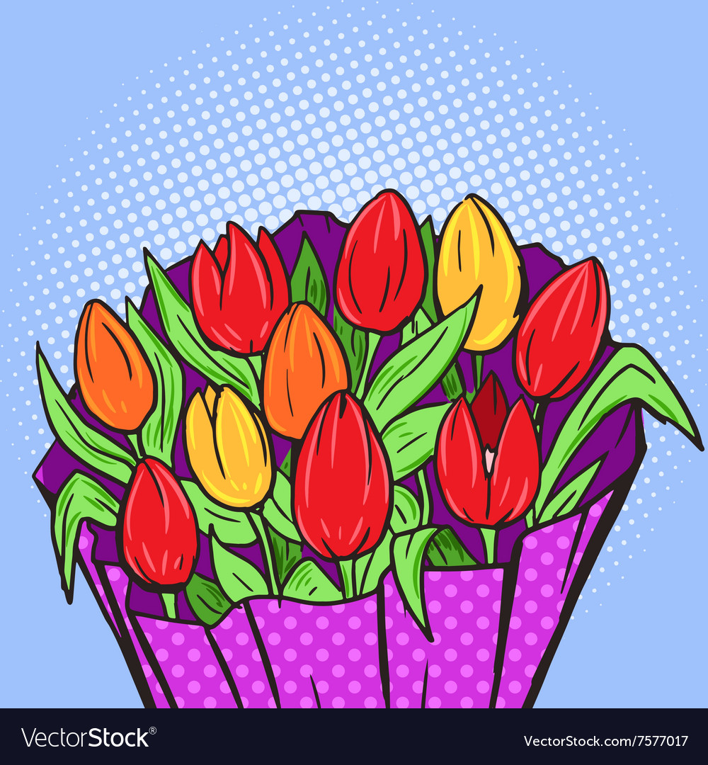 Flowers Bouquet Pop Art Style Royalty Free Vector Image
