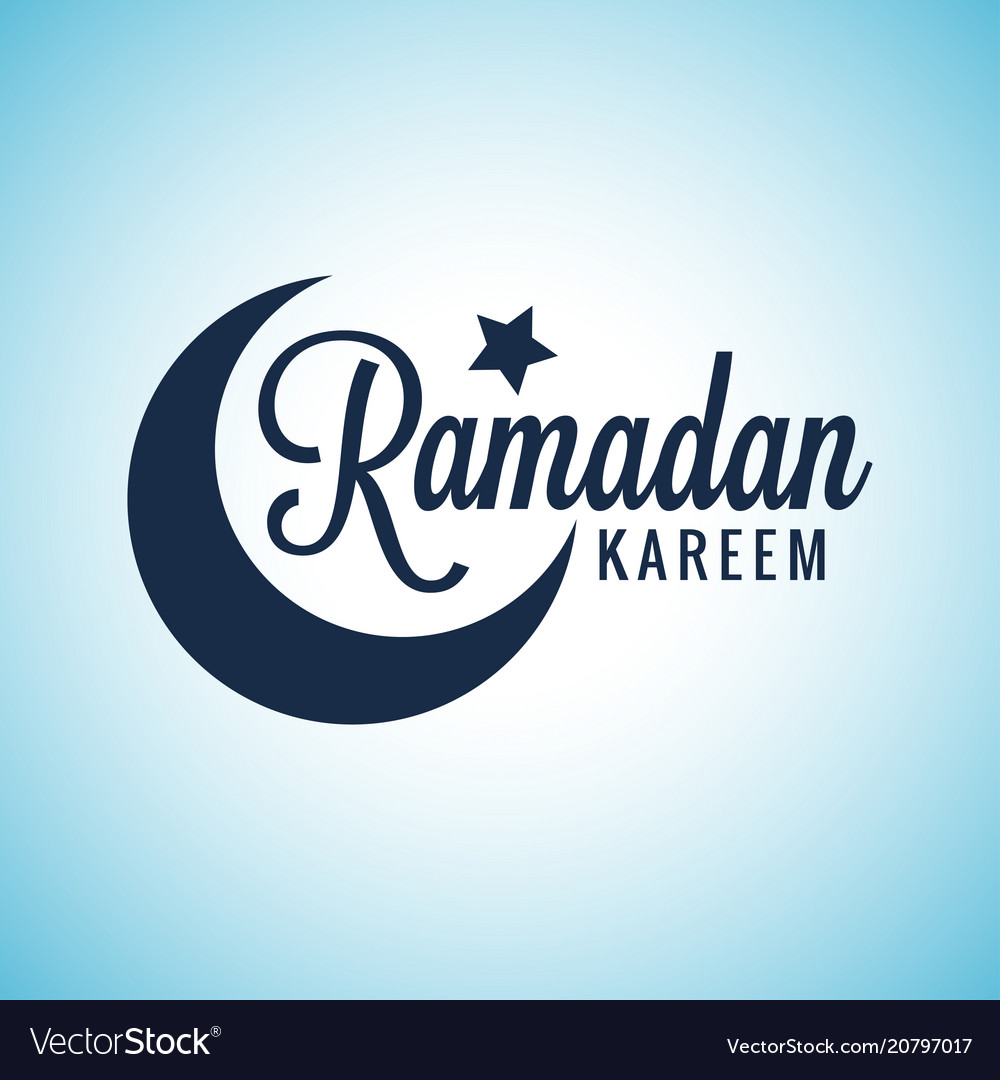 Ramadan Kareem Moon Lettering Eid Mubarak Sign On Vector Image