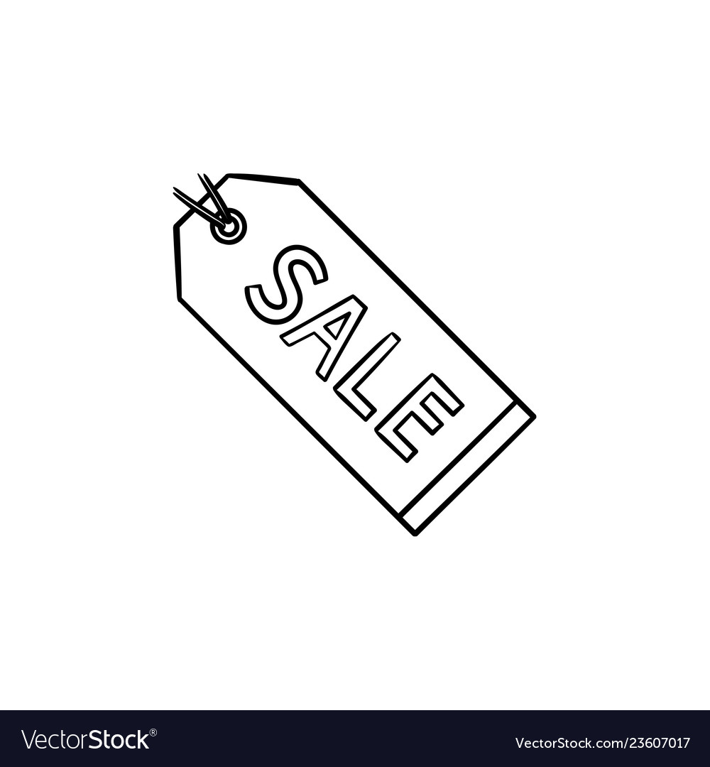 Sale tag hand drawn outline doodle icon