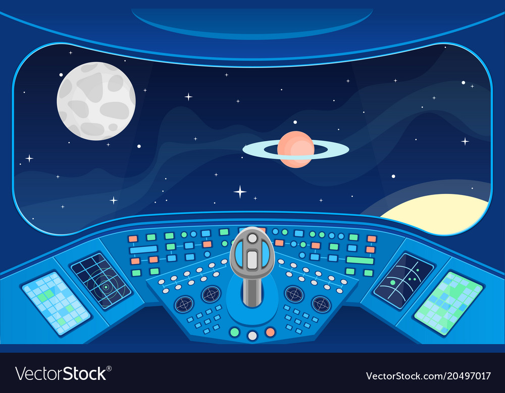 Spaceship cabin interior and view window to space vector image