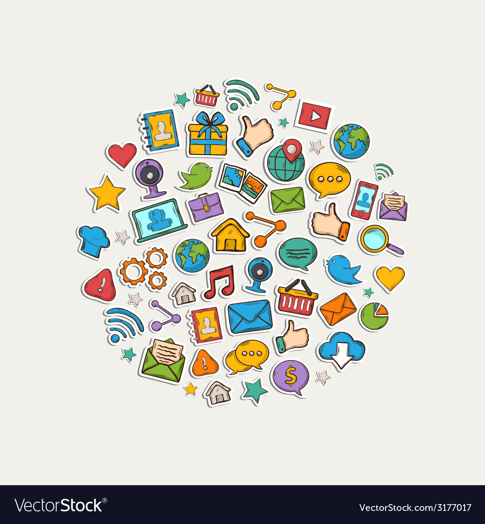 Sticker mobile apps set in the form of circle