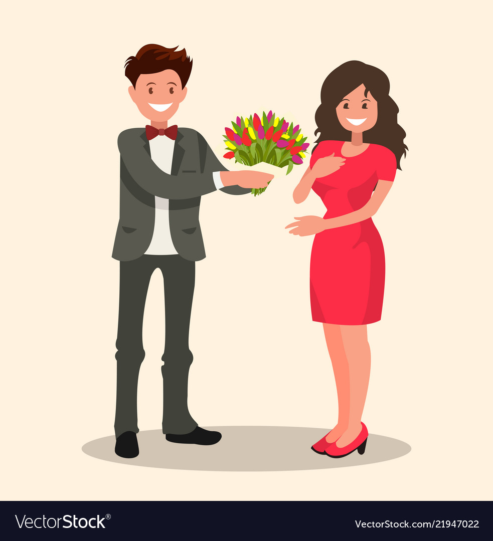 A man gives a woman a bouquet of flowers