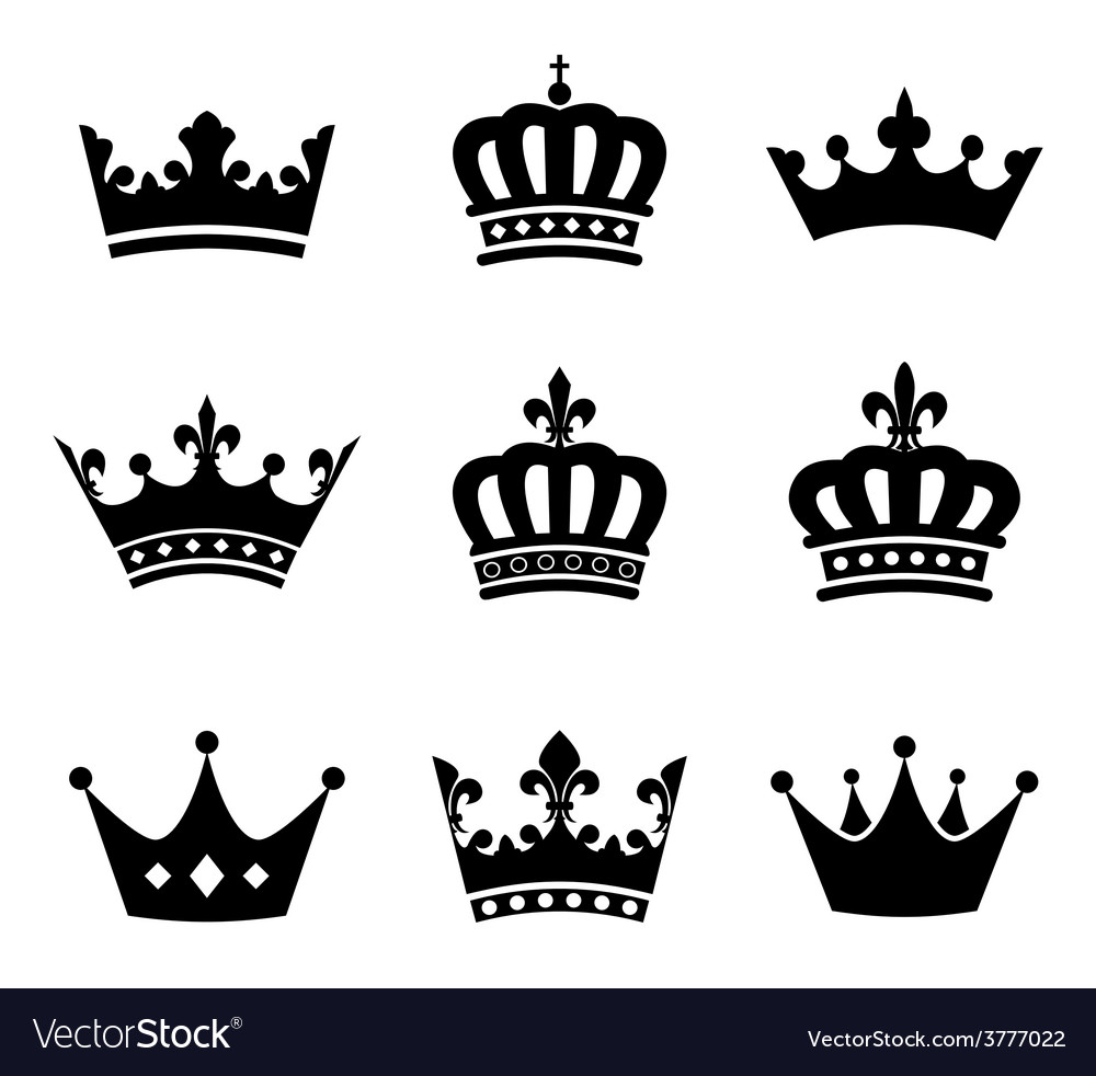 Collection of crown silhouette symbols Royalty Free Vector