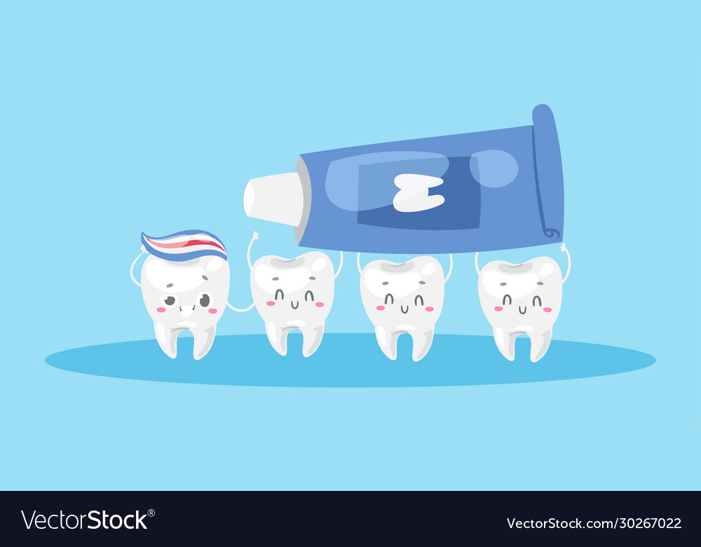 Dental care with cute healthy white teeth and