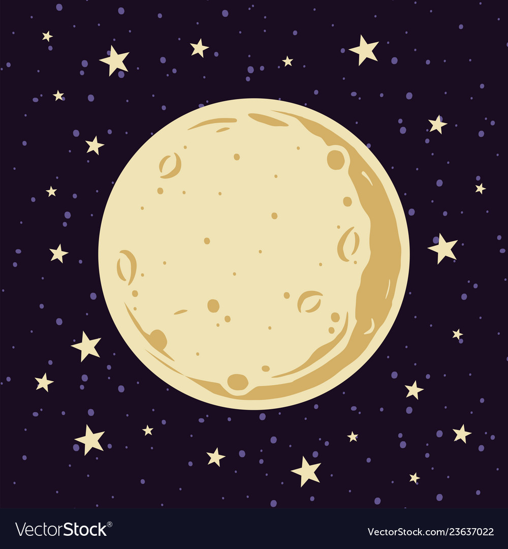 Full moon and stars in night sky in cartoon