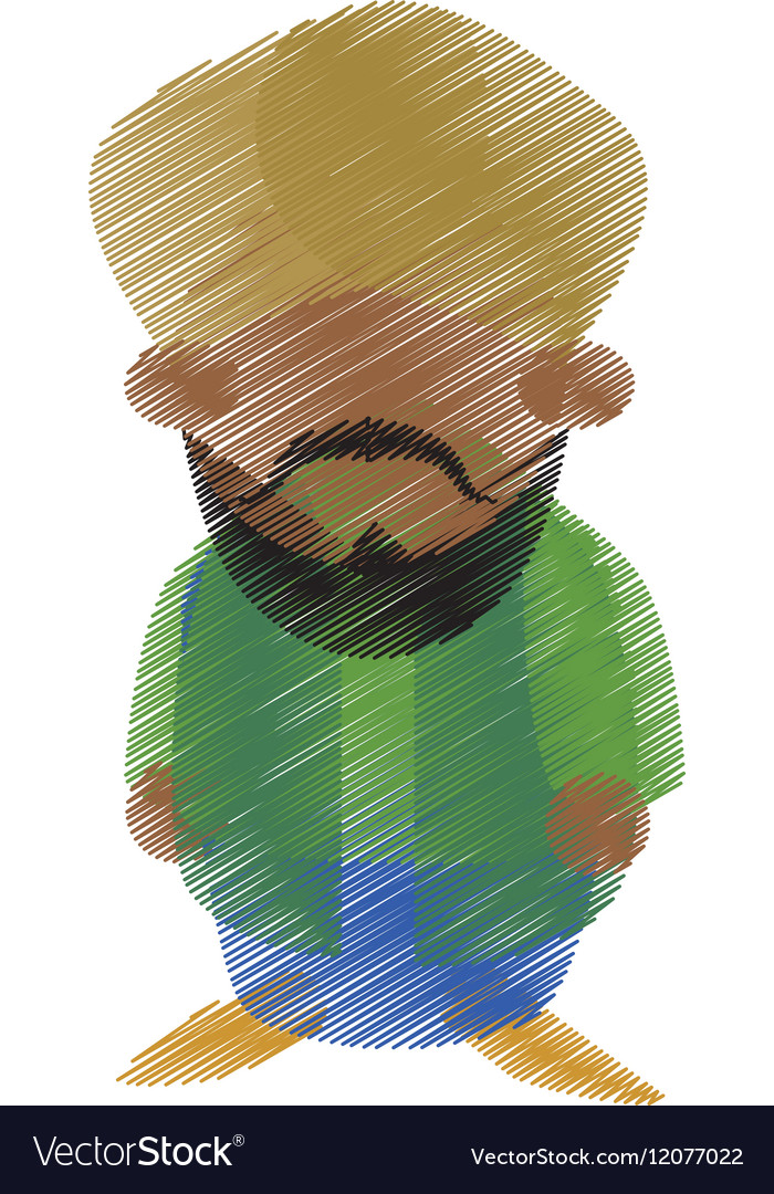 Hand drawing colored indian man bearded