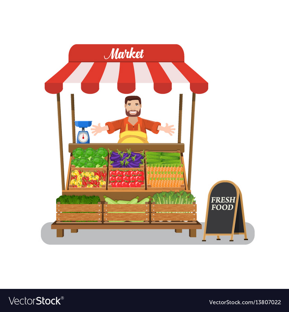 Market stall with salesman trading vegetables vector image