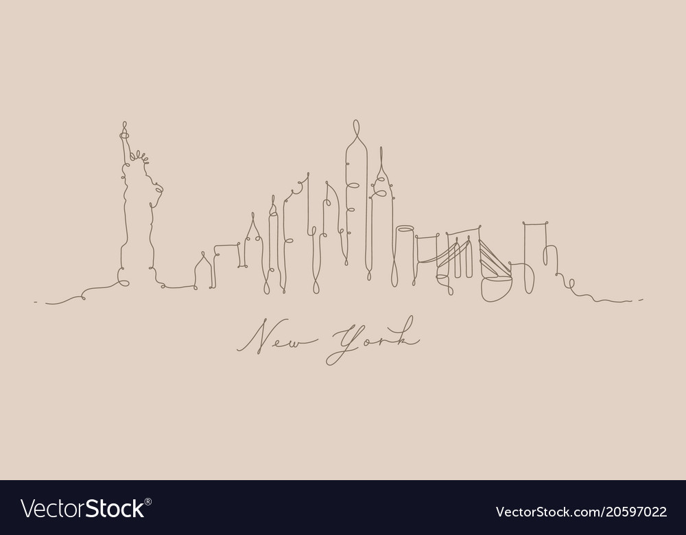 Pen line silhouette new york beige