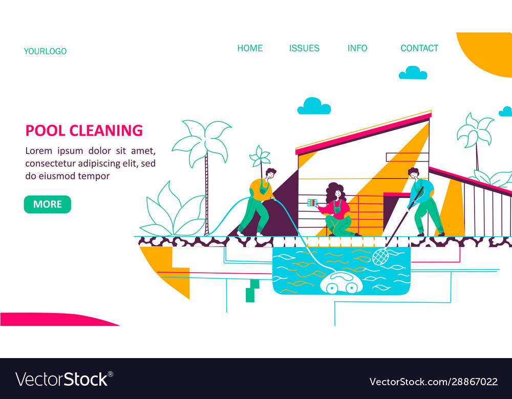 Pool cleaning landing page flat template