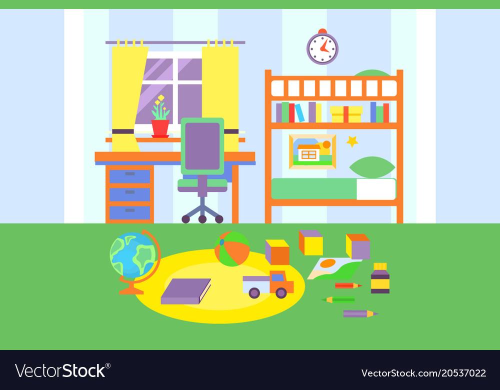 Preschool or school student boy room interior vector image