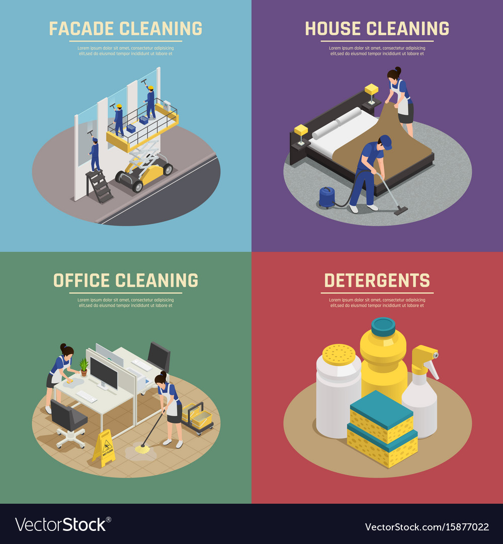 Professional cleaning isometric compositions vector image