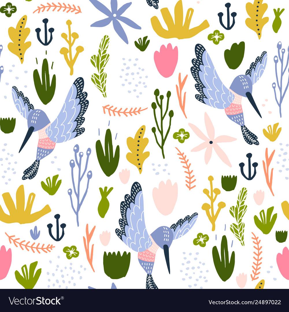 Seamless childish pattern with colorful collibri