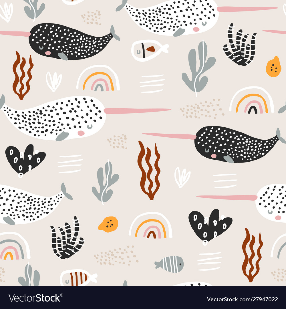 Seamless pattern with abstract narwals rainbows
