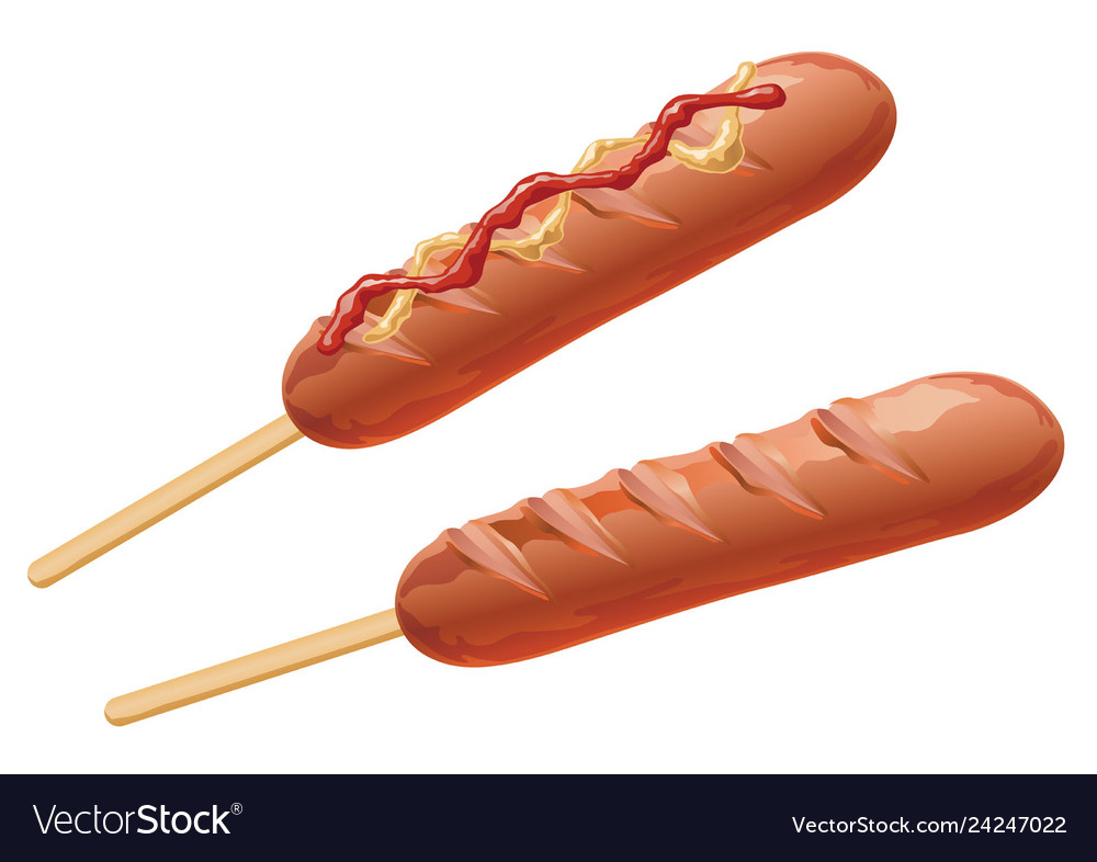 Set of two frankfurters isolated on a white bkg