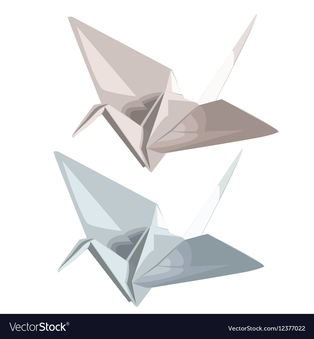 Two cranes of paper in origami style