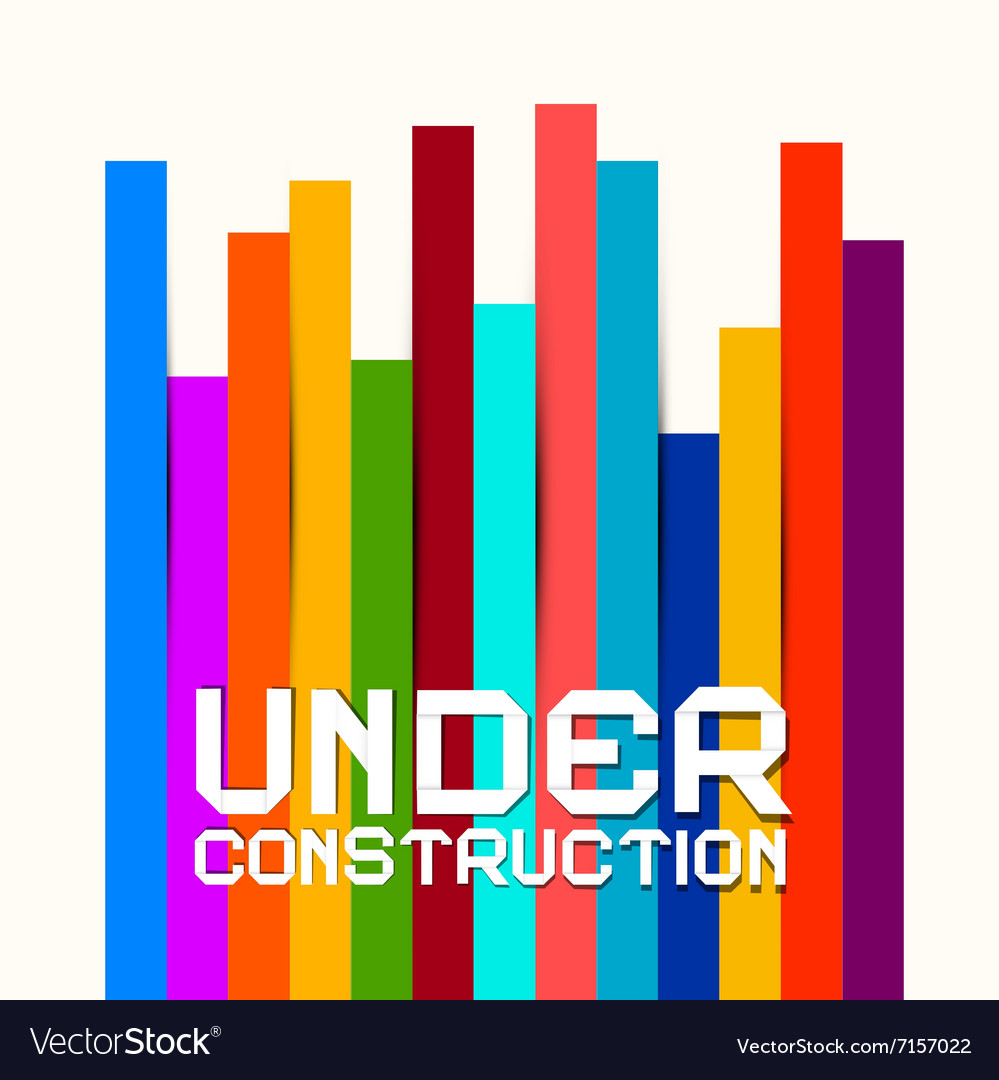 Under Construction Sign with Colorful Papers