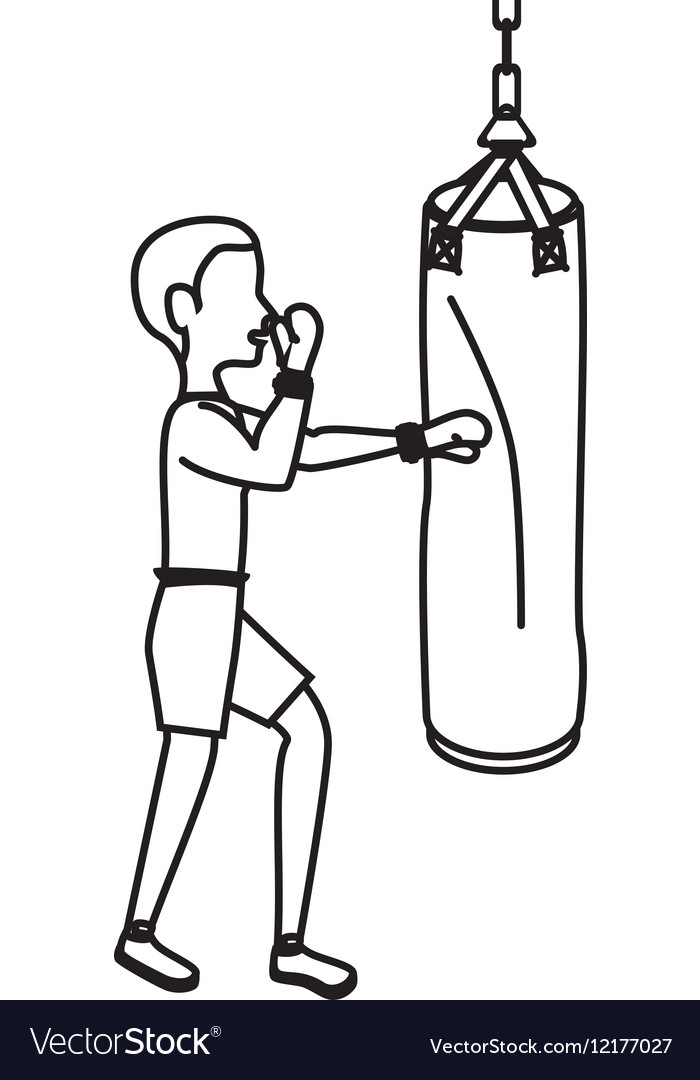 Boxer silhouette avatar with punch bag icon