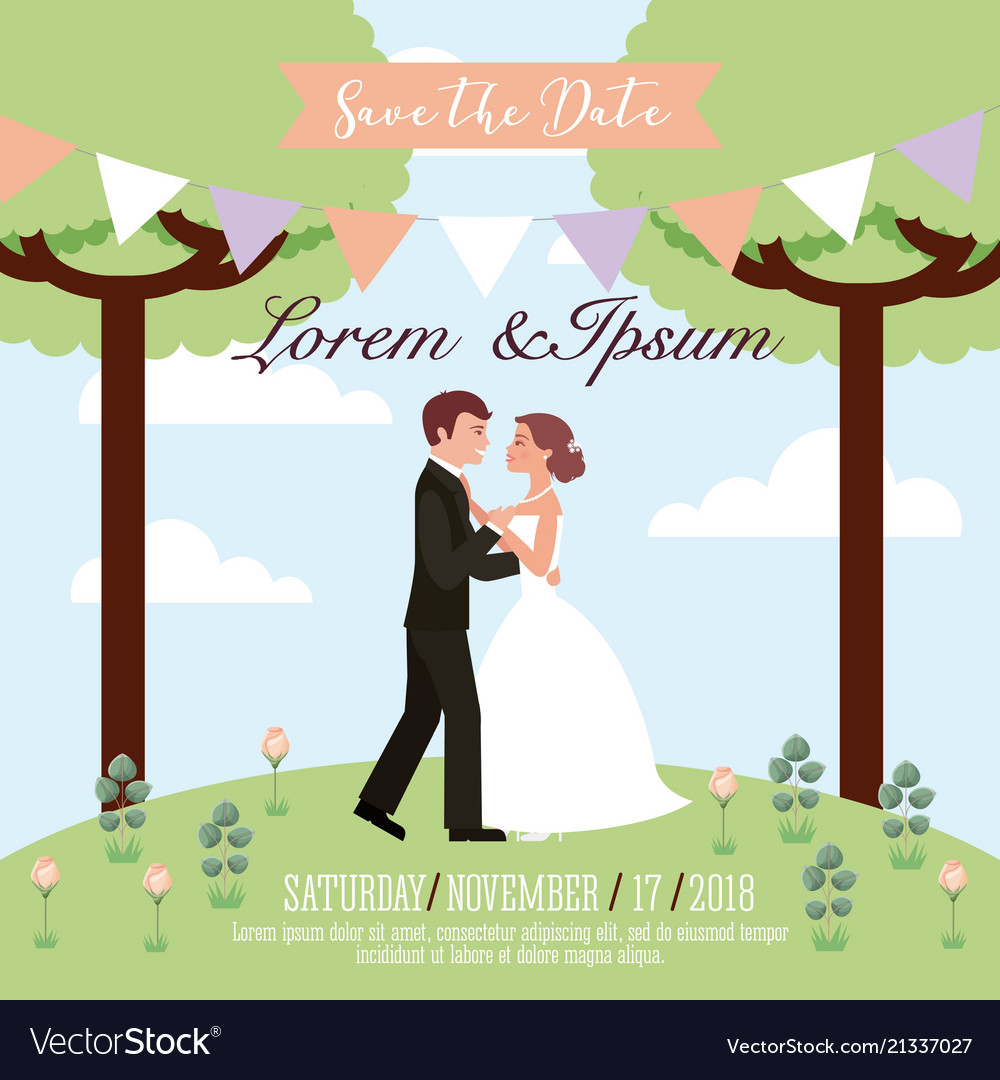 Couple wedding dancing in park save the date card