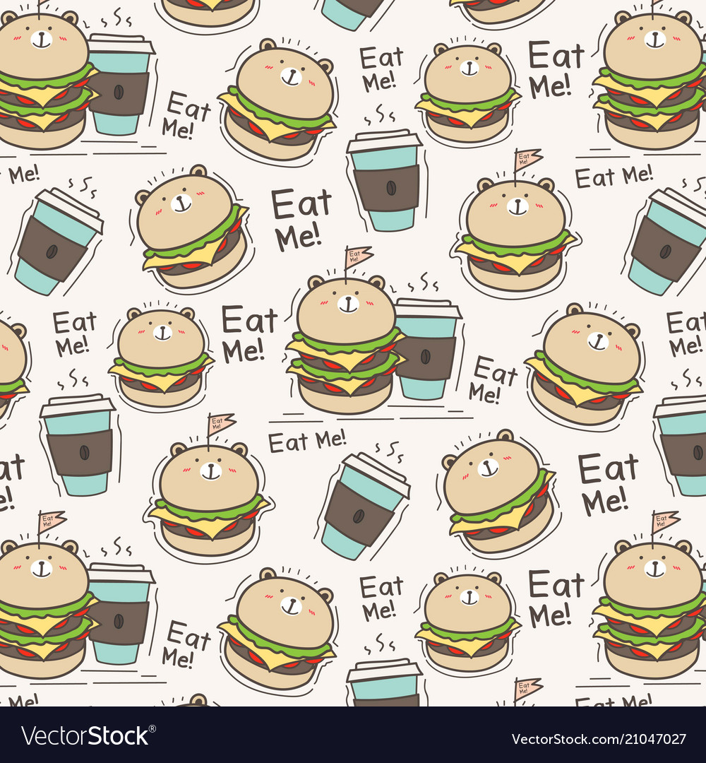 Cute bear burger and coffee cup pattern background
